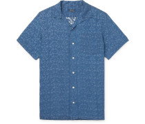 Camp-Collar Overdyed Printed Linen Shirt