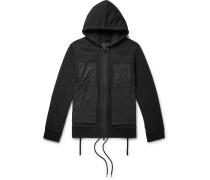 Poplin-panelled Cotton-jersey Zip-up Hoodie - Black