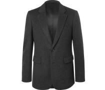 Dark-grey Slim-fit Mélange Felted Cashmere Blazer - Dark gray