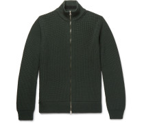 Ribbed Merino Wool Zip-up Cardigan