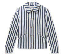 Striped Cotton Jacket - White