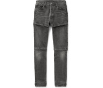 Zip-panelled Denim Jeans - Gray