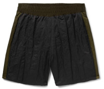 Wide-leg Striped Nylon-satin Shorts - Black