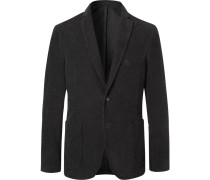 Charcoal Slim-fit Unstructured Cotton-corduroy Blazer - Charcoal