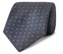 8cm Printed Textured-silk Tie