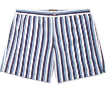 Short-length Striped Swim Shorts - Navy