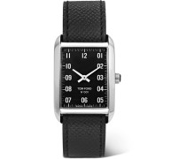 001 Stainless Steel And Pebble-grain Leather Watch - Black