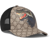 Printed Coated-canvas And Mesh Baseball Cap