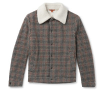 Shearling-Trimmed Houndstooth Wool Jacket