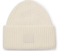 Ribbed Wool Beanie - White
