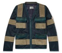 Velvet-panelled Mesh Jacket - Dark green