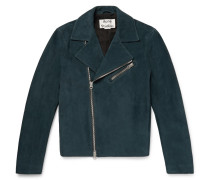 Axl Leather-panelled Suede Biker Jacket