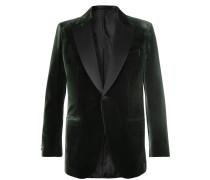 Dark-green Slim-fit Silk Satin-trimmed Cotton And Silk-blend Velvet Tuxedo Jacket - Green