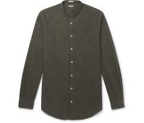 Grandad-Collar Cotton-Flannel Shirt