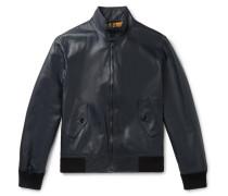 Leather Blouson Jacket - Midnight blue