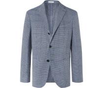 Blue Slim-Fit Unstructured Houndstooth Woven Blazer