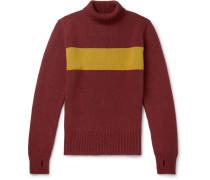 Talbot Striped Wool Rollneck Sweater - Claret