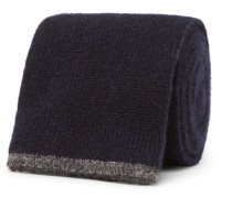 6.5cm Knitted Cashmere Tie - Navy