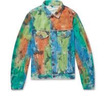 Painted Distressed Denim Trucker Jacket - Multi