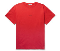 Logo-print Garment-dyed Cotton-jersey T-shirt - Tomato red