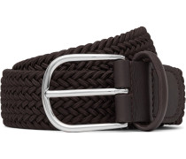 3.5cm Brown Leather-trimmed Woven Elastic Belt - Brown