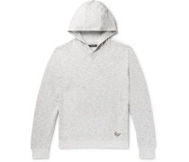 Embroidered Mélange Loopback Cotton-jersey Hoodie - Light gray