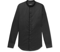 Slim-fit Grandad-collar Contrast-tipped Cotton Shirt