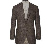 Brown Hyde Slim-fit Herringbone Wool-blend Blazer