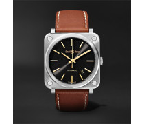 BR S-92 Golden Heritage Automatic 39mm Stainless Steel and Leather Watch, Ref. No. BRS92-ST-G-HE/SCA
