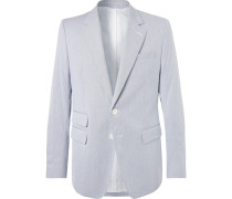 Blue Slim-fit Striped Cotton-seersucker Blazer