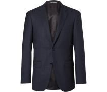 Blue Travel Mélange Wool-hopsack Blazer