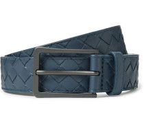 3cm Storm-blue Intrecciato Leather Belt