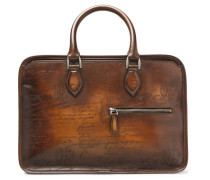 Un Jour Mini Scritto Leather Briefcase - Brown