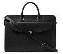 Pebble-grain Leather Briefcase - Black