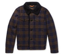 Shearling-lined Checked Wool Bomber Jacket