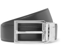 3cm Black And Tan Reversible Leather Belt - Black