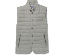 Whitwell Quilted Wool, Linen And Cotton-blend Down Gilet - Gray