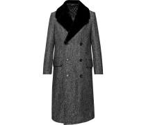 Double-breasted Shearling-trimmed Herringbone Wool-blend Coat - Black