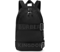 Logo-jacquard Webbing And Leather-trimmed Shell Backpack - Black