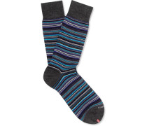 Striped Merino Wool-blend Socks - Blue