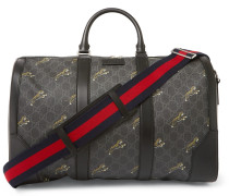 Leather-trimmed Monogrammed Coated-canvas Holdall - Black