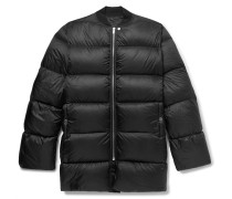 Oversized Quilted Nylon Down Jacket - Black