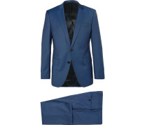 Blue Huge Genius Slim-fit Mélange Super 120s Virgin Wool Suit
