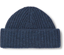 Dock Ribbed Wool Beanie - Storm blue