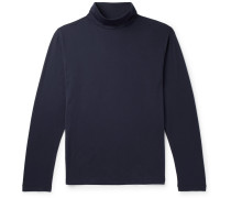 Pima Cotton-jersey Rollneck T-shirt - Navy