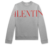 Logo-print Mélange Loopback Cotton-blend Jersey Sweatshirt - Gray