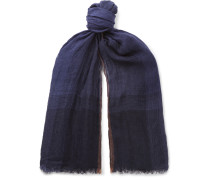 Checked Washed Linen And Silk-blend Scarf - Navy