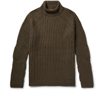 Ribbed Wool-blend Rollneck Sweater