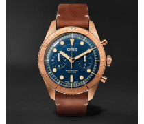 Carl Brashear Chronograph 43mm Burnished Bronze And Leather Watch - Blue