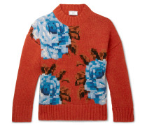 Oversized Floral-Intarsia Wool Sweater